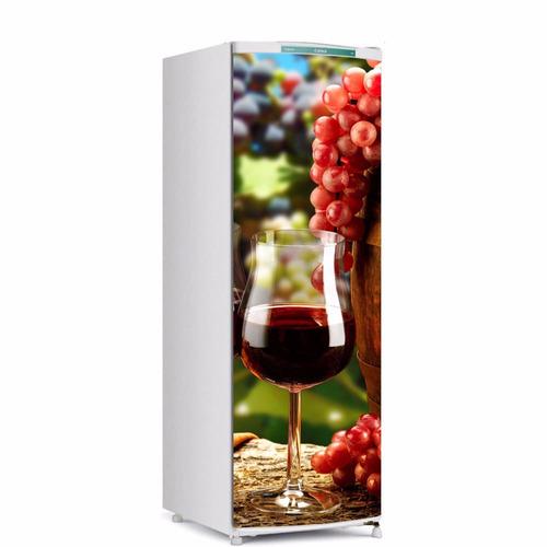 Aparador Em Mdf Com Gaveta ~ Adesivo De Geladeira Taça De Vinho Porta Inteira Médio R