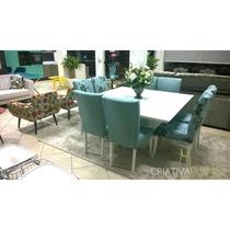 Sala De Jantar 8 Lugares, 4 Cadeiras Florais E 4 Lisas,...