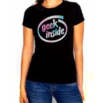 Playera Dama Geek Inside Style Negra Estampado Vario Colores