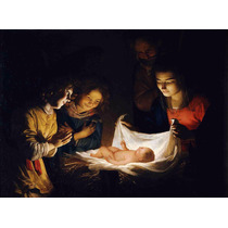 Lienzo Tela Adoración Al Niño Dios 1622 Arte Sacro 50 X 68cm