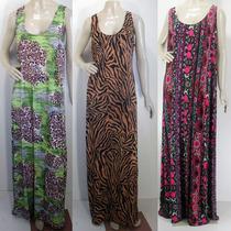 Lote 6 Vestidos Longos Estampados Liganete Plus Size