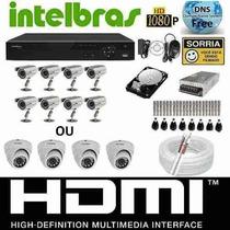 Kit Cftv Dvr Intelbras+hd+8cameras Infra1200l/30m+fonte+cabo
