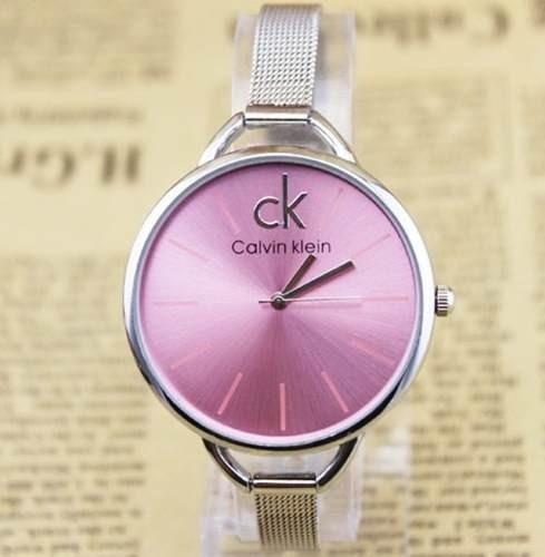 3bdf3406bd8 Relógio Feminino De Pulso Caixa Redonda Dourado Prata Ck - R  54