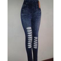 Leggins Tipo Jeans Rasgados - Espectaculares Mayor Y Detal
