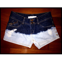 Shorts Jeans Com Spikes Tie Dye Claro E Escuro Tam. 36 Promo