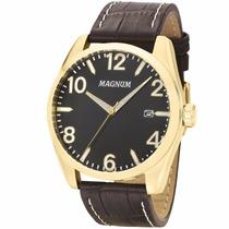Relógio Magnum Ma34843p Esportivo Dourado Pulseira De Couro