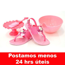 Sandália Infantil Hello Kitty 21375 Vem Com Sweety Kit Rosa