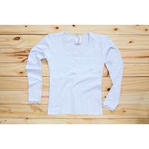 Camiseta Algodón Con Lycra Manga Larga Con Puntilla En Puños