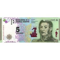 Grr-billete De Argentina 5 Pesos 2015 - J. San Martín