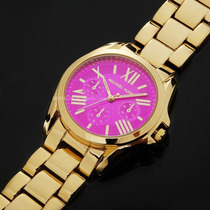 Relógios Importados Michael Kors Dourado Com Visor Rosa