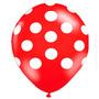 50 Unidades Balão Bexiga Decorada Nº10 Vermelho Bola Branca
