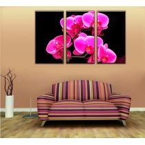 Imagen Orquideas Rosas Cuadro Canvas 3 Pzas 45 X 85 Cm C/u