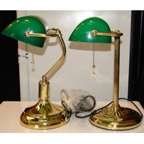 Lámpara Banquero Bronce, Cadena Dorado Y Tulipa Verde E27