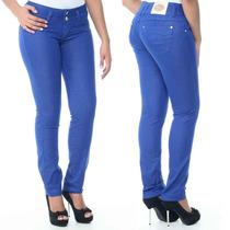 Calça Skinny Colorida Azul Bic Sawary Jeans Levanta Bumbum