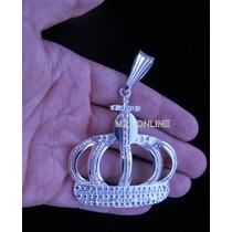 Pingente Coroa Para Cordão Corrente Banhado A Prata Folheado