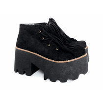 Borcego Con Flecos Plataforma Negro Zapato Art 118 - Donatta