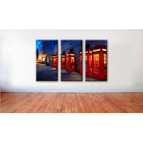 Imagen Londres Cabinas Cuadro Canvas 3 Pzas 45 X 85 Cm C/u