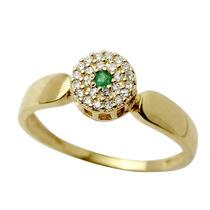 Anel De Formatura Ouro 18k Com Esmeralda Diamantes Jr Joalhe