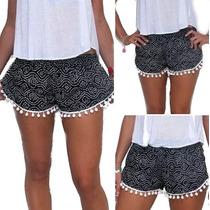 Shorts Sexy Primavera Verano Playa Casual Negro Fuzz Balls