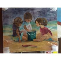 Niñas En La Playa- Cuadro Decorativo Oleo Sobre Tela, Arte