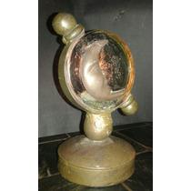 Candelabro De Bronce Antiguo Unico Vidrio Y Luna Relieve