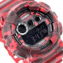 Relogio Casio G-shock Gd-120cm-4dr Camuflado Vermelho