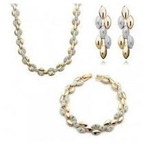 Collar, Pulsera & Pendientes Bicolor Chapado En Oro Y En Pla
