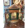 Icono Religioso Antiguo Tallado En Madera Cedro Y Laminilla