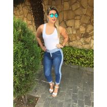 Calça Feminina Jeans C/ Moletom Cordão Regulável