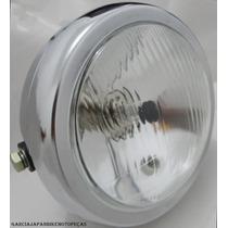 Farol Suzuki Intruder 125 Cromo Em Ferro + Brinde Lampadas
