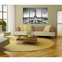 Bastidores Cuadros Torre Eiffel Triptico En Lienzo 120x80