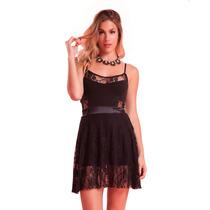 Vestido Corto Encaje Noche Mujer Basilotta