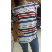 Blusa Blanca Con Rayas Azul Rojo Y Negro Moda 2016