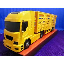 Caminhão Carreta Bau Boiadeiro Amarelo Comp=60cm