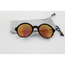 Lentes De Sol Gafas Espejadas Redondas Carrera Autenticas