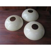 3 Plafones De Opalina Antiguos Diametro 0.16