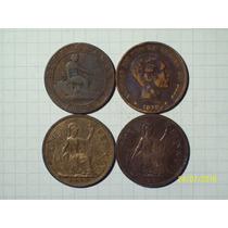 Colección 4 Cobres Antiguos Inglaterra Y España