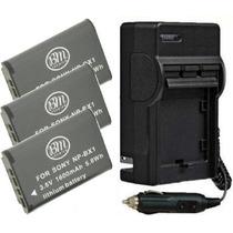 Kit 3 Baterias Np-bx1 + Carregador Bx1 Sony Dsc-hx400 Hx400