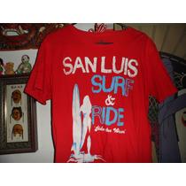 Camisa Playera Logotel San Luis Surf & Ride Roja Red Playa