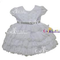 Vestido Para Bebê De Festa Batizado Com Faixa De Cabelo