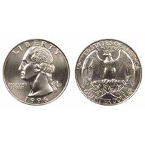 Moeda Americana E U A 1/4 Quarter Dólar 1996 Rara Perfeita!