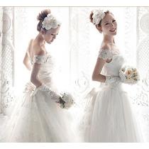 Vestido De Noiva Bordado Acompanha Anágua E Luva Saiote