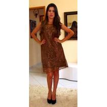 Luxo: Vestido Tule Bordado Mini Paetês Bronze Curto Festa