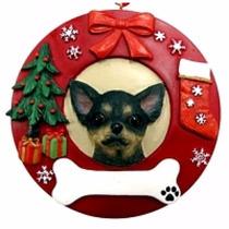 Adorno Navideño Circular Chihuahua Negro - Ceramica - Hermos