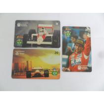 Ayrton Senna Lote Com 03 Cartões Telefônicos Raros