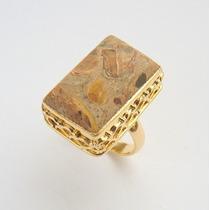 Anel De Prata 925 Aro 15 Banho Ouro Pedra Jaspe Gráfico 8424