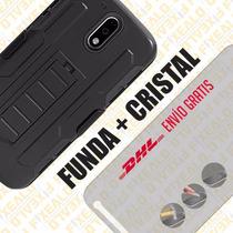 Funda Protector Uso Rudo Clip + Cristal Moto G4 Play T8104