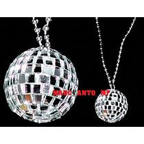 12 Collares Bola Disco Fiestas Batucada Collar Espejo Econom