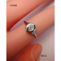 Anillo Oro Blanco 18k Con Diamante Corte Antiguo Fino