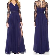 Vestido Longo Rendado Azul Em Chiffon - Manequins 40/42